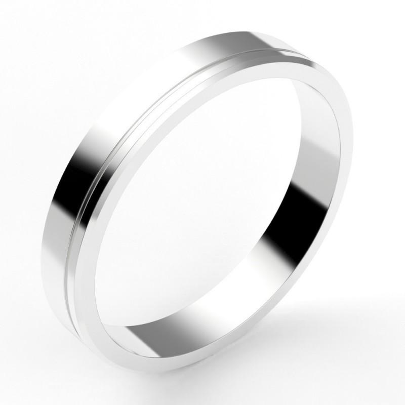 Alliance mariage homme chanfreinée à liseret - or 18 carats - 3,5 mm