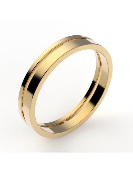 Alliance femme deux anneaux - or 18 carats - 3,5 mm