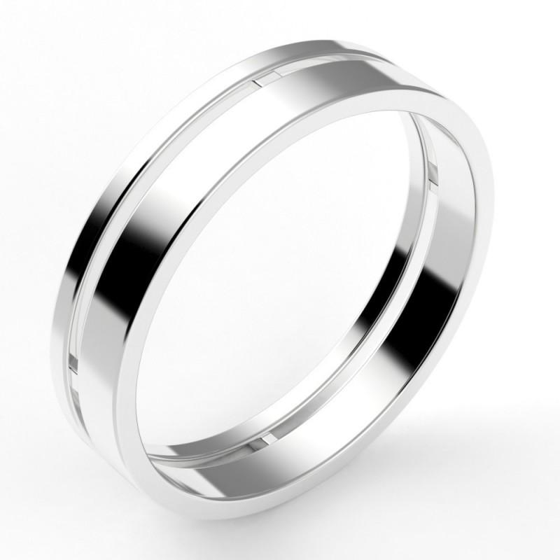 Alliance homme deux anneaux - or 18 carats - 4,5 mm