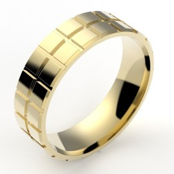 Alliance homme fantaisie cube - or 18 carats - 6 mm