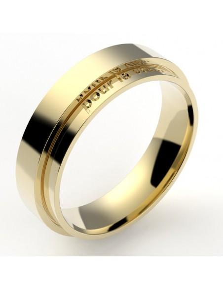 Alliance homme originale deux anneaux décalés 5,5 mm - or 18 carats