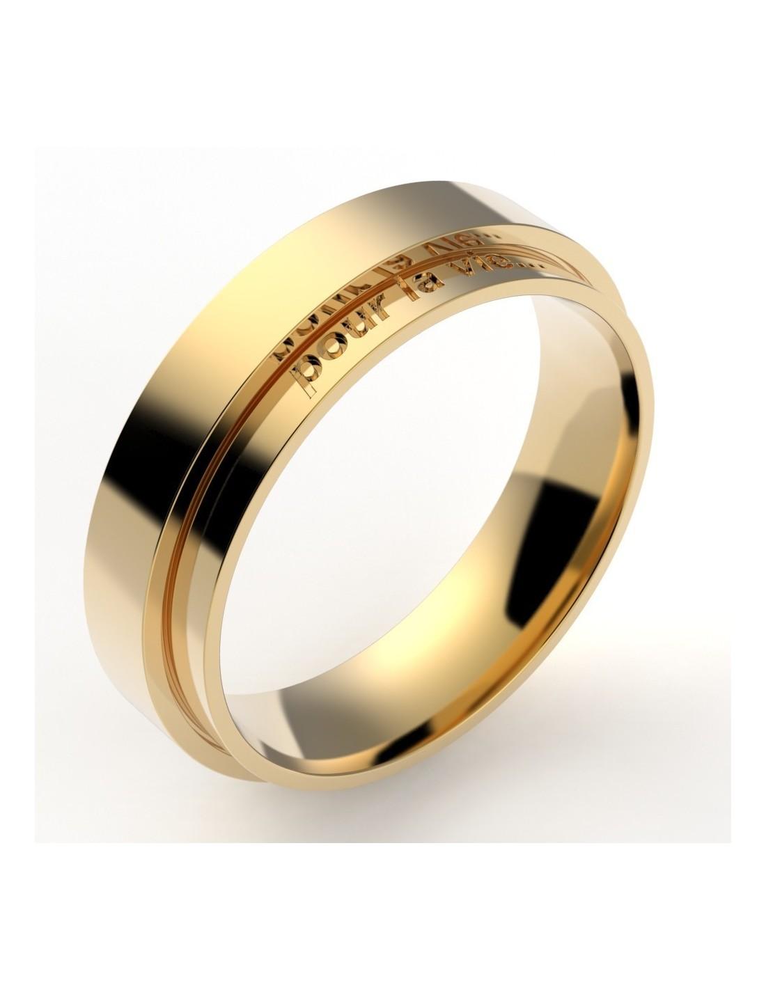 alliance homme fantaisie deux anneaux décalés 5,5 mm - or 18 carats