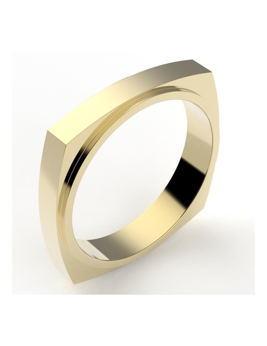 alliance mariage homme fantaisie forme carrée interieur rond 4 mm