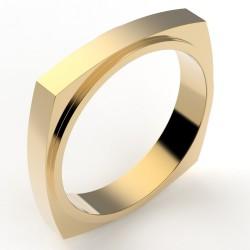 Alliance homme originale forme carrée interieur rond 4 mm - or 18 carats