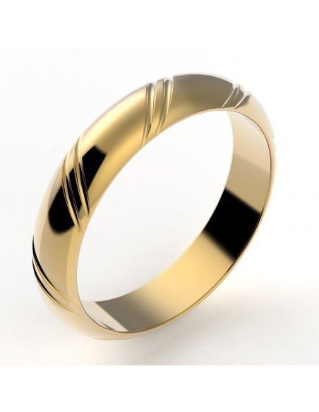 Alliance mariage homme jonc 2 liserets - 4,5 mm or 18 carats