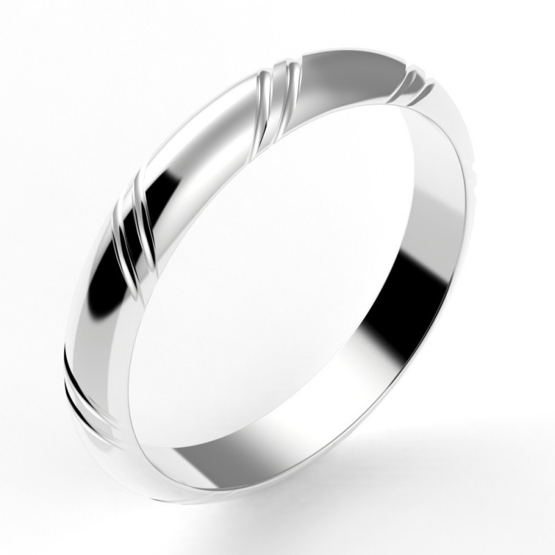 Alliance mariage homme jonc 2 liserets - 3,5 mm or 18 carats