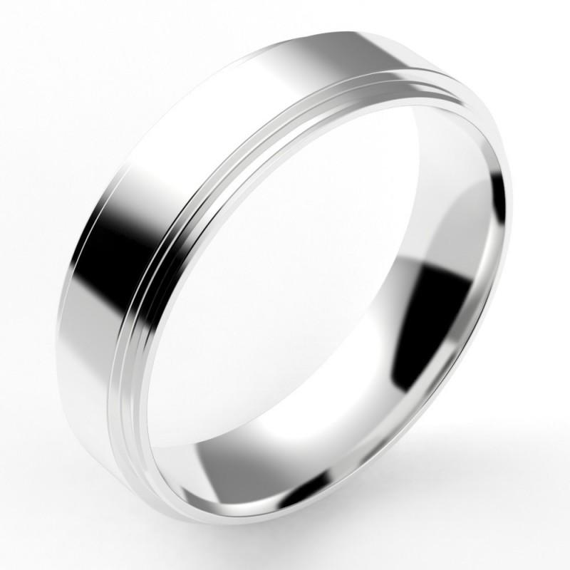 Alliance homme contemporaine double anneaux 5,5 mm or 18 carats