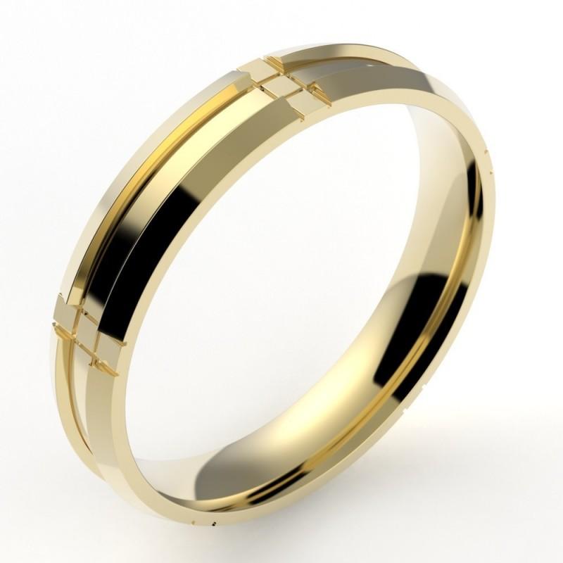 Alliance contemporaine homme rectangle chanfreiné - 4 mm - or 18 carats