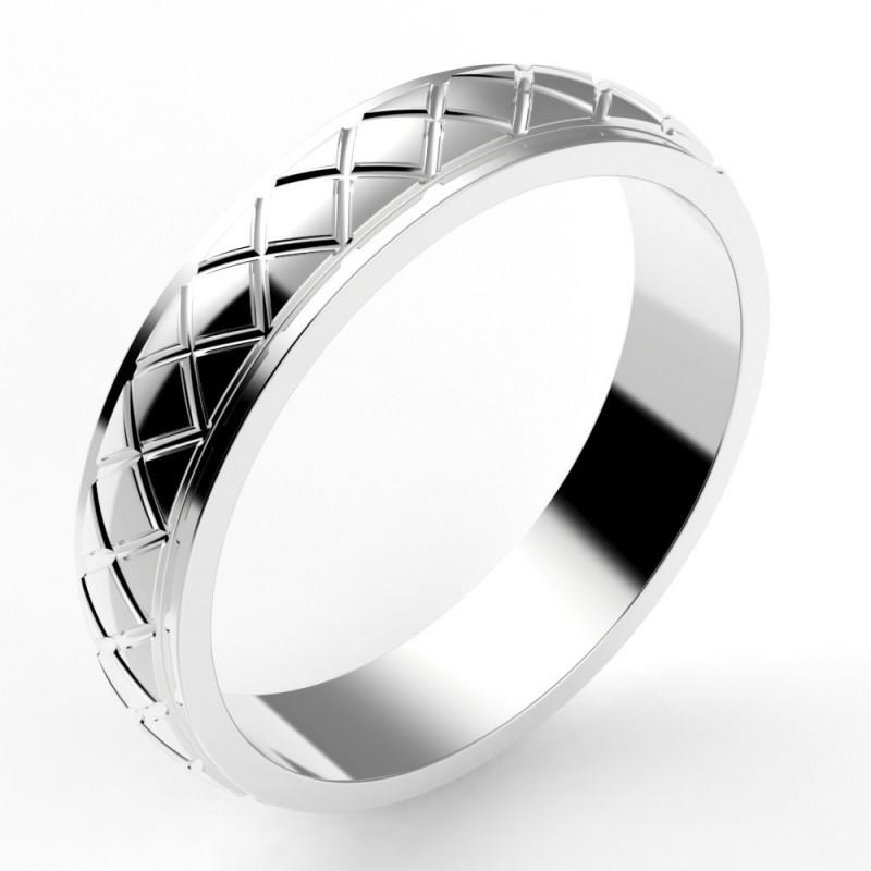 Alliance homme croisillon losange 4,5 mm - or 18 carats