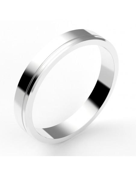 Alliance homme contemporaine 3,5 mm - liseret décalé - or 18 carats