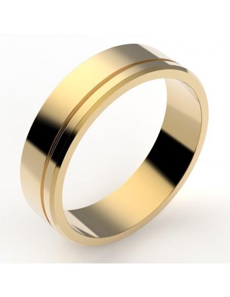 Alliance homme contemporaine 5,5 mm - liseret décalé - or 18 carats