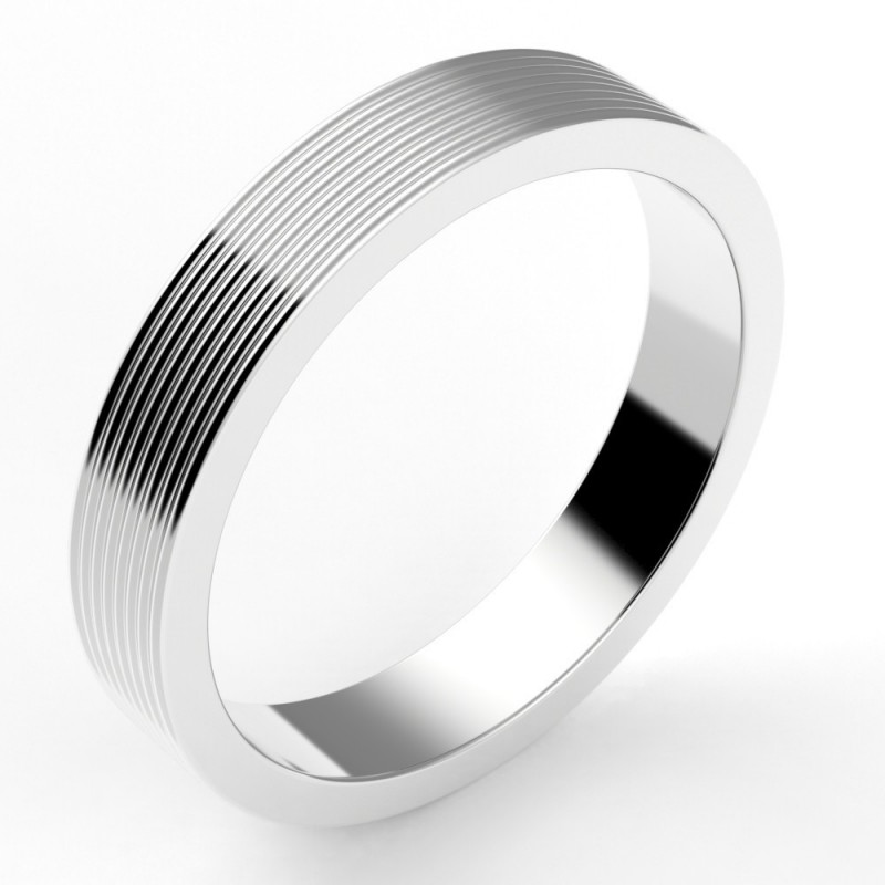 Alliance mariage homme godrons multiples 4 mm - or 18 carats
