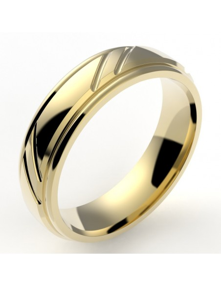 Alliance mariage homme godron 5,5 mm 2 liserets - or 18 carats - interieur confort