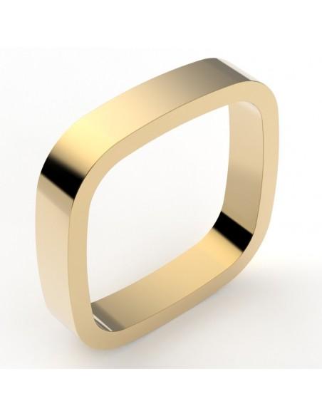 Alliance homme style contemporain de forme carré - 4mm - or 18 carats
