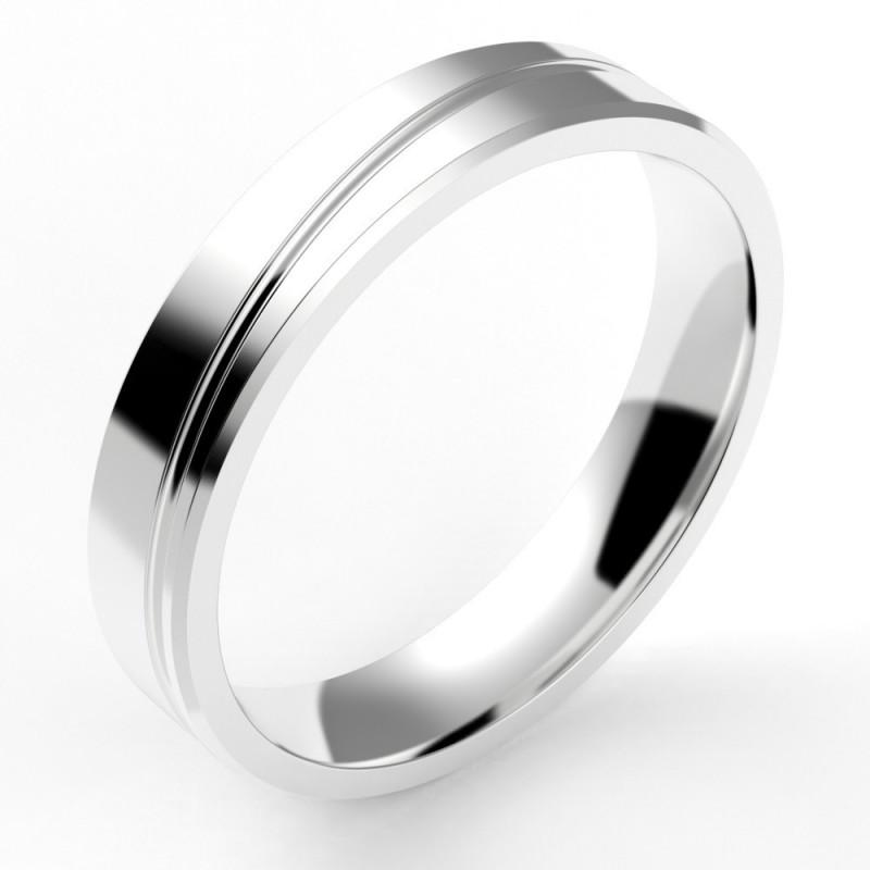 Alliance homme chanfreinée et liseret diagonale en or 18 carats, 4 mm - interieur confort