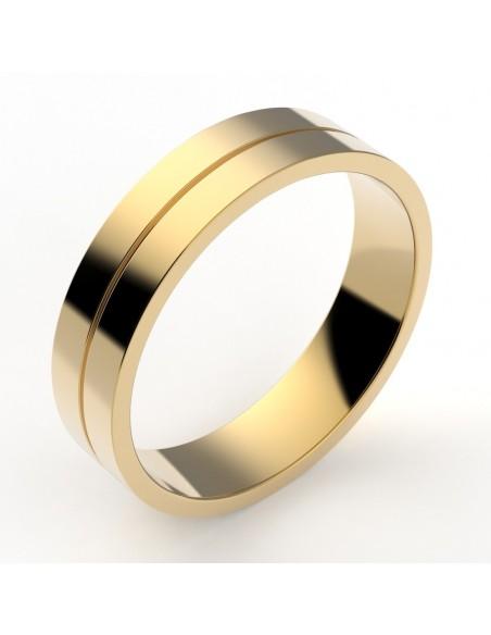 Alliance femme ruban plat 4,5 mm et liseret - or 18 carats