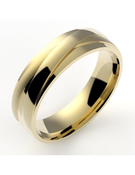 Alliance homme rubans croisés 5,5 mm interieur confort - or 18 carats